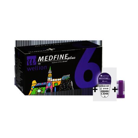 Иглы для инсулиновых шприц - ручек Wellion MEDFINE plus 0,25 мм (31 G) x 6мм, 100 шт.